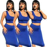Women Scoop Neck Sleeveless Solid Color Bodycon Cocktail Club Party Dress 2pc