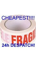 1X 48mm X 66m FRAGILE PRINTED STRONG PARCEL TAPE PACKAGING BIG ROLL CHEAPEST