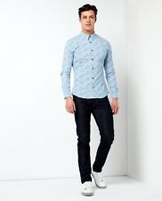 Remus Uomo Printed Slim Fit Shirt/blue - Large Ss18