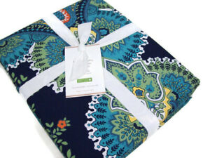 Pottery Barn Multi Blue Green Colors Linden Paisley Full Queen Duvet Cover New