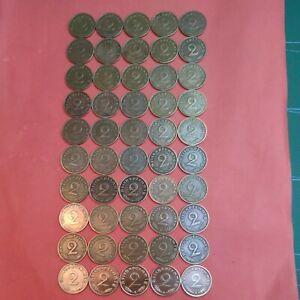 2 Reichspfennig 1937 - 1940 , 50 Stk. Sehr gute Erhaltung ,Lot , Konvolut Nr.4