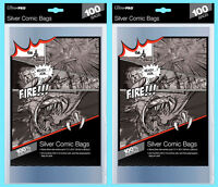 """200 ULTRA PRO SILVER SIZE COMIC BOOK BAGS New Storage 7-1/4"""" x 10-1/2"""" Archival"""