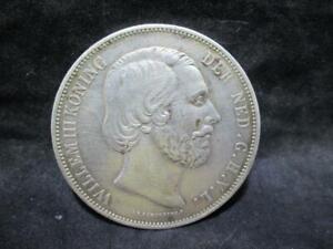"""Silbermünze - Niederlande 2,5 G 1872 """"Willem III König der Ned.""""   AS2264"""