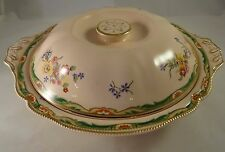 Vintage Johnson Bros Rosedawn Pattern Floral Gilded Lidded Tureen Serving Dish