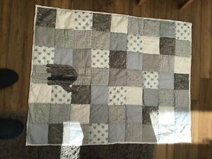 Handmade Grey/white patchwork  Elephant Quilt/ Playmat. 114cm X 90 Approx