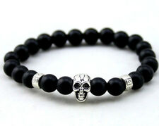 UK Mens Natural Stone Onyx Gemstone Crystal Skull Bead Bracelet Wrap for Guys