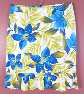 SK17080- LE SUIT Women's Cotton Pencil Skirt Ruffle Trim Multicolor Floral 14P