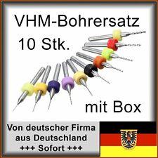 VHM Bohrer-Set 0,3 bis 1,2mm - 10 Stk., f. Dremel u.a., Platinenbohrer