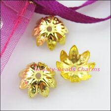 80Pcs Lotus Flower End Bead Caps Connectors 10mm Gold Silver Bronze Plated