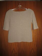Eileen Fisher Taupe Cotton Nylon Rib Knit Elbow Sleeve Boat Neck Sweater Top S