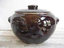 Vintage Covered Bean Pot Casserole Pot Cookie Jar Dark Brown Stoneware USA