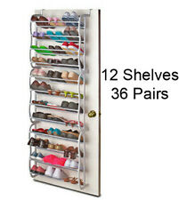 Overdoor Shoe Rack Holds 36 Pairs Shoes Storage Hooks on Space Saver 12 Shelves