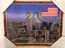 "World Trade Center Picture Framed 3D Twin Towers 13.5"" X 10.5"" New #4"