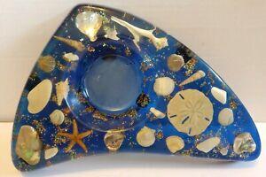 Nautical Bath Blue Acrylic Soap Trinket Dish W/ Seashells Mid Century Boomerang
