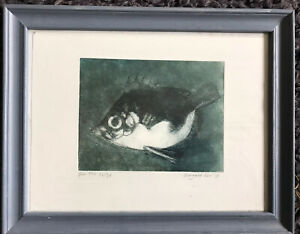 MARGARET KNOTT Boar Fish limited ed coloured etching pencil signed gallery frame