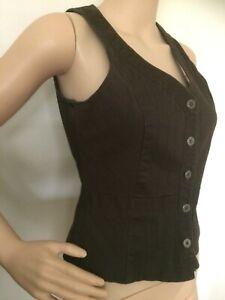 COLORADO Brown Subtle Stripe Stretch Button Up Waistcoat Vest Size XS