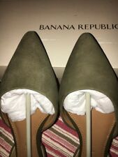 NWT NIB Women's Banana Republic D'Orsay Suede Green Sage Flats Size 6**REDUCED**