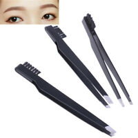 Stainless steel hair removal eyebrow tweezers clip with comb double makeup~QA