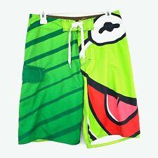 The Muppets Kermit The Frog Mens Board Shorts Size 30 Green Swim Trunks Big Logo