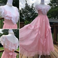 80's Pink Frill & Lace Formal Gunne Sax Dress Sz S