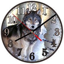 "8"" WALL CLOCK - Wolf 1 Wolves Spiritual - Kitchen Office Bathroom Bar Bedroom"