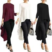 Women Hi-Lo Tuxedo Shirt Blouse Casual Long Sleeve Loose Fit Ladies Baggy Top