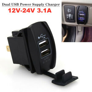 12V-24V 3.1A Dual LED USB Car Truck Power Supply Charger Port Socket Waterproof