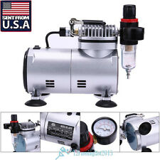 Airbrush & Compressor Kit Dual-Action Spray Air Brush Set Tattoo Nail Art USA