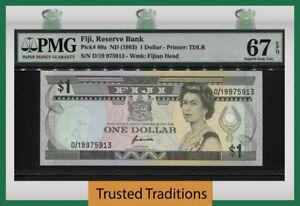 TT PK 89a ND (2013) FIJI RESERVE BANK 1 DOLLAR PMG 67 EPQ SUPERB GEM UNC!