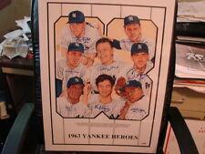 1963 New York Yankees Heroes Autograph Poster Kubek, Boyer, Pepitone, Lopez, PSA