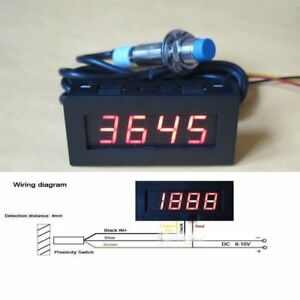 Digital LED Punch Tachometer Speed Meter  Hall Proximity Switch Sensor red (L99)
