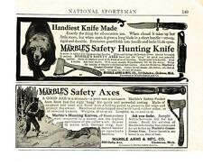 1911 AD MARBLES HUNTING KNIFE AND SAFETY AXES, A GOOD AXE IS A TREASURE