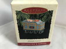 HALLMARK TIN TRAIN TOY CAR Yuletide Central CHRISTMAS ORNAMENT 1997 with box EUC