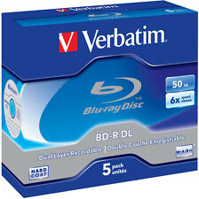 5 Verbatim Blu-ray BD-R DL 50GB 1-6x Rohlinge Jewelcase Dual Layer