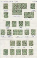 1912/24 WATERMARK ROYAL CYPHER 1/2d GREEN MINT/USED/OVERPRINT COLLECTION 6 PAGES