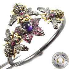 Natural Rose Cut Diamond Amethyst Ruby 925 silver Cuff Bangle Pave Jewelry