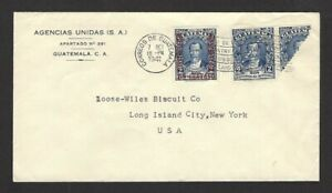 Guatemala #277 bisect unsevered pair & a single on 1941 cover to USA