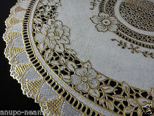 PAIR OF GOLD LACE FLOWER DINING MAT TABLE SPARKLE PLASTIC CLOTH PLACEMAT ROUND