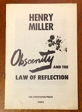 """Scarce Henry Miller, """"Obscenity and the Law of Reflection"""""""