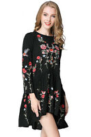 S M L NEW CHIC GYPSY WOMENS FLORAL BIRD EMBROIDERED MINI DRESS TUNIC BLOUSE TOP