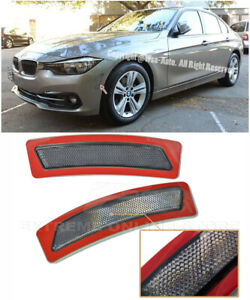 For 16-18 BMW F30 F31 3-Series | SMOKE Front Bumper Reflector Side Marker Lights