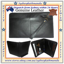 Genuine Cowhide Leather A4 Conference Folder Portfolio Zipped Organiser File Bag