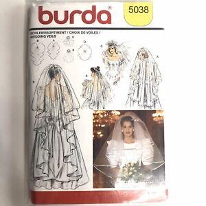 NEW Burda Sewing Pattern 5038 Womens Wedding Dress Veil Bridal Tulle Organza