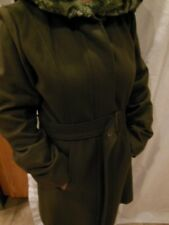 Woman's Hilary Radly Wool Blend Coat with Faux Fur Hood Size L