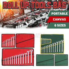 Spanner Wrench Canvas Pocket 10/14/20 Pouch Roll Up Tool Storage Bag Organizer
