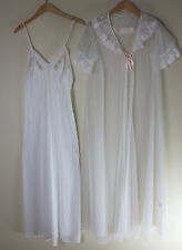 Vintage  Ivory VAL MODE Nylon Sheer Robe /Night Gown negligee Set MEDIUM