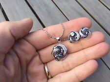 Silver 925 Geometric Blue Fire Mystic Topaz Necklace Earrings Rainbow set