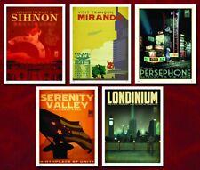 "Serenity Blue Sun Travel 5 Poster Set 17"" x 22"" Firefly Whedon Quantum Mechanix"