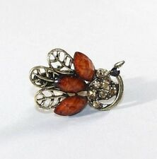 Brand New Gold Tone Vintage Peacock Hair Clip Claw w/Light Auburn Brown Crystals