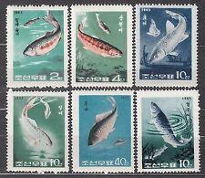 KOREA 1965 MNH** SC#616/621 set, Freshwater fishes.